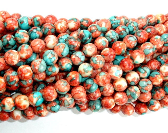 Rain Flower Stone Beads, Red, Blue, 6mm (6.5mm) Round Beads, 15.5 Inch, Full strand, Approx 64 beads, Hole 1 mm, A quality (377054014)