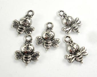 Honey Bee Charms, Zinc Alloy, Antique Silver Tone, 12x16 mm, 20 pcs, Hole 1.8mm (006873102)