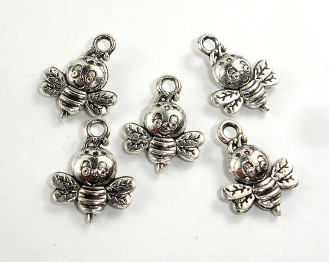 Honey Bee Charms, Zinc Alloy, Antique Silver Tone, 12x16 mm, 20 pcs, Hole 1.8mm (006873102)