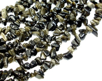Golden Obsidian, Approx 4-10mm Chips Beads, 35 Inch, Long full strand, Hole 0.8 mm (239005001)