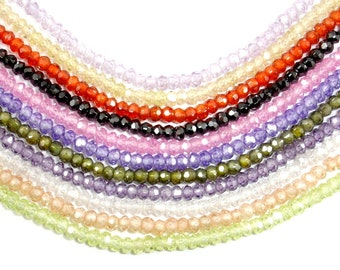 Cubic Zirconia Beads, CZ beads, Faceted Rondelle, Approx 2 x 3 mm, 6 Inch, 1 strand, Approx 70-75 beads, Hole 0.5 mm, A quality (RON0303)