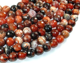 Fire Agate Beads, 10mm Faceted Round, 14.5 Inch, Full strand, Approx 37 beads, Hole 1 mm (122025230)