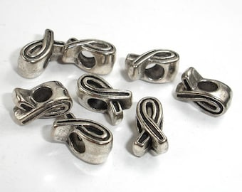 Ribbon Spacer, Metal Beads, Large Hole Spacer, Zinc Alloy, Antique Silver Tone, 7x12x7mm, 20 pcs, Hole 4mm (006852054)