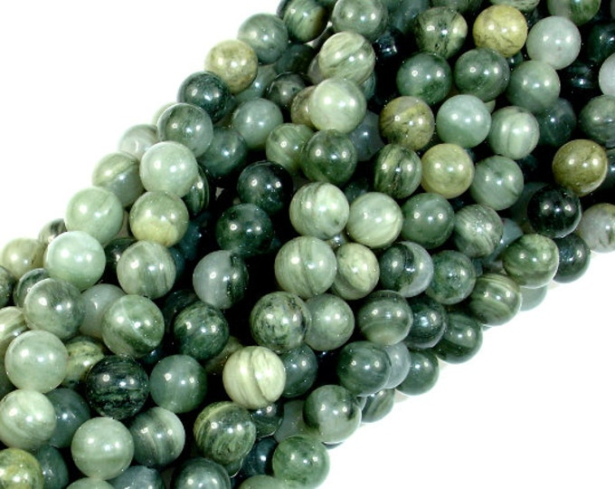 Green Line Quartz Beads, 6mm(6.5mm) Round Beads , 16 Inch, Full strand, Approx 64 beads, Hole 1 mm (258054003)