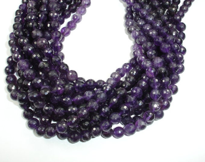 Amethyst Beads, 8mm Faceted Round Beads, 15.5 Inch, Full strand, Approx 48 beads, Hole 1mm, A- quality (115025006)