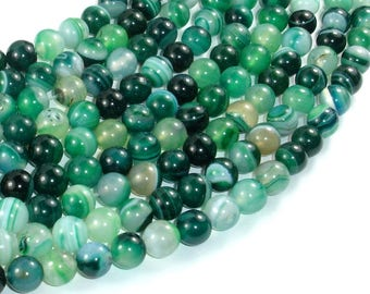 Banded Agate Beads, Green, 8mm(8.3mm) Round Beads, 15.5 Inch, Full strand, Approx 49 beads, Hole 1mm (132054057)