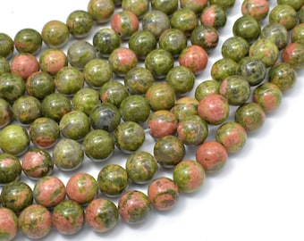 Unakite Beads, 8mm (8.4mm) Round Beads, 15.5 Inch, Full strand, Approx 47 beads, Hole 1mm, A quality (429054002)
