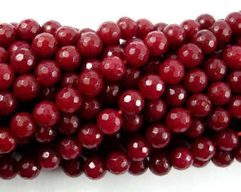 Ruby Jade Beads, Faceted Round, 8mm, 15 Inch, Full strand, Approx 48 beads, Hole 1mm, A quality (211025011)