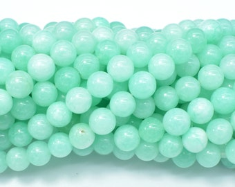 Jade Beads-Light Green, 8mm Round Beads, 15 Inch, Full strand, Approx 48 beads, Hole 1mm (211054193)