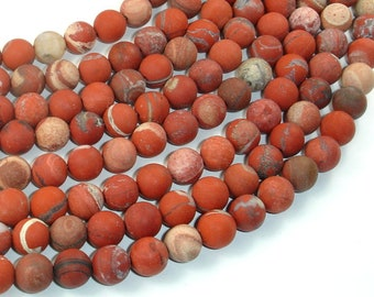 Matte Red Jasper Beads, 8mm (8.5mm) Round Beads, 15 Inch, Full strand, Approx 46 beads, Hole 1mm (371054012)
