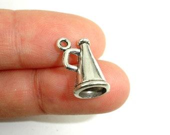 Horn Charms, Zinc Alloy, Antique Silver Tone, 10x15 mm, 15 pcs, Hole 1.5 mm (006873064)