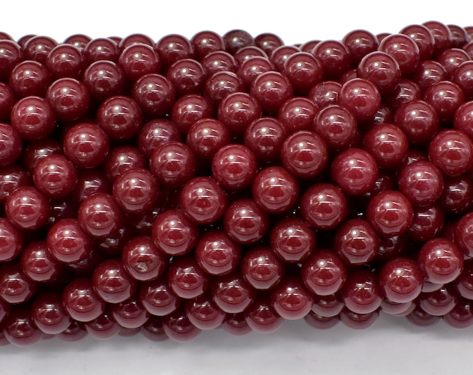 Jade Beads-Red, 6mm (6.4mm) Round Beads, 15 Inch, Full strand, Approx 63 beads, Hole 1mm (211054200)