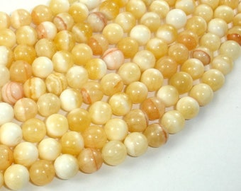 Honey Jade Beads, 8mm(8.2mm) Round Beads, 15.5 Inch, Full strand, Approx 49 beads, Hole 1mm, A quality (238054002)