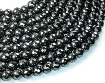 Hematite, 8mm (7.5 mm) Faceted Round Beads, 15.5 Inch, Full strand, Approx 50 beads, Hole 1mm (269025003)