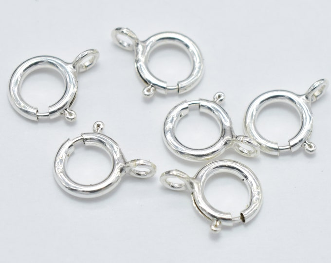 10pcs 925 Sterling Silver Spring Ring Clasp, 5.5mm Round, with 2.5mm Ring (007904010)