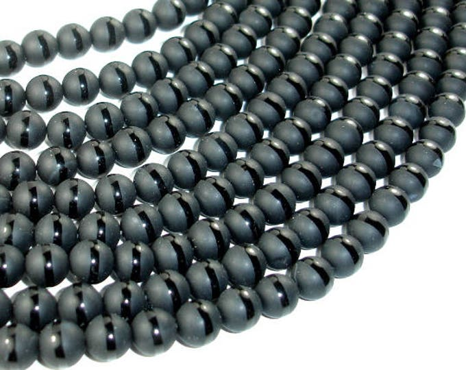 Matte Black Onyx Beads, 8mm Round Beads, With Polished lineFull strand, 14 Inch, Approx 50 beads, Hole 1mm (140054027)