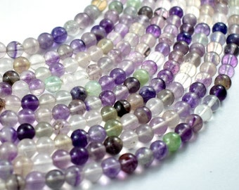 Fluorite Beads, Round, 6mm, 16 Inch, Full strand, Approx 67 beads, Hole 1 mm (224054008)