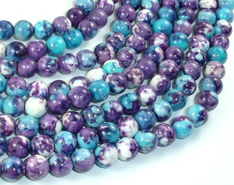 Rain Flower Stone Beads, Blue, Purple, 8mm (8.5mm) Round Beads, 15.5 Inch, Full strand, Approx 49 beads, Hole 1mm, A quality (377054032)