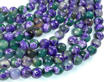 Agate Beads, Purple & Green, 8mm Faceted Round Beads, 15 Inch, Full strand, Approx 48 beads, Hole 1mm (122025303)