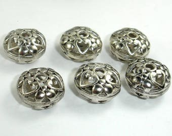 Metal Beads, Metal Hollow Flat Round Spacer, Zinc Alloy, Antique Silver Tone, 15x9mm, 4 pcs, Hole 2.7mm (006852034)
