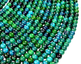 Chrysocolla , 6mm(6.5mm) Round Beads, 15.5 Inch, Full strand, Approx 66 beads, Hole 1 mm, A quality, Reconstituted (196054007)