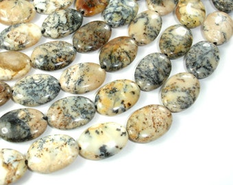 Dendritic Opal Beads, 13x18mm Oval Beads, 15.5 Inch, Full strand, Approx 22 beads, Hole 1 mm (441030001)