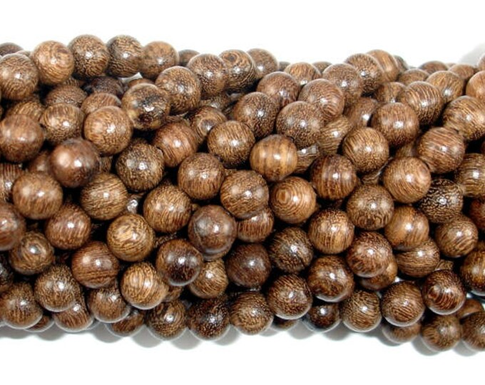 Gold Phoebe Ebony Beads, Gold Wire Sandalwood, 6mm(6.3mm) Round Beads, 26 Inch, Full strand, Approx 108 Beads, Mala Beads (011745002)