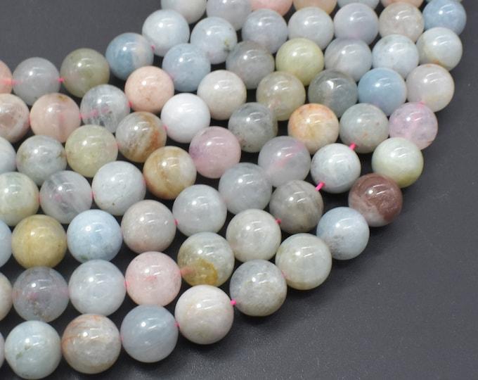 Beryl Beads, Morganite, Aquamarine, Heliodor, 10mm Round Beads, 15.5 Inch, Full strand, Approx 38-40 beads, Hole 1mm (133054011)