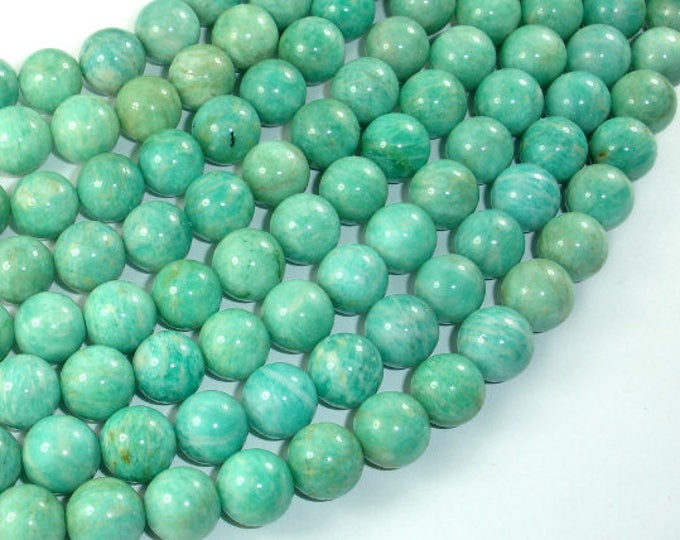 African Amazonite Beads, 10mm(10.5mm) Round Beads , 15.5 Inch, Full strand, Approx 38-39 beads, Hole 1mm (103054007)