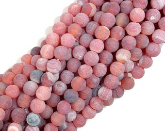 Frosted Matte Agate, 6mm Round Beads, 14.5 Inch, Full strand, Approx 63 beads, Hole 1 mm (122054189)