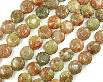 Chinese Unakite Beads, 12mm Coin Beads, 15.5 Inch, Full strand, Approx 33 beads, Hole 1 mm (195008001)