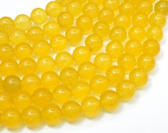 Jade Beads-Yellow, 10mm Round Beads, 15 Inch, Full strand, Approx 38 beads, Hole 1mm (211054199)