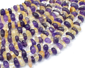 Mixed Quartz- Amethyst, Citrine, Approx 5mm-10mm Pebble Chips Beads, 15 Inch, Full strand, Hole 0.8mm (318005002)