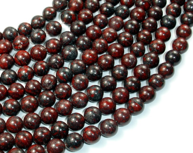 Brecciated Jasper Beads, Round, 8mm (8.5 mm), 15.5 Inch, Full strand, Approx 46 beads, Hole 1 mm (334054006)