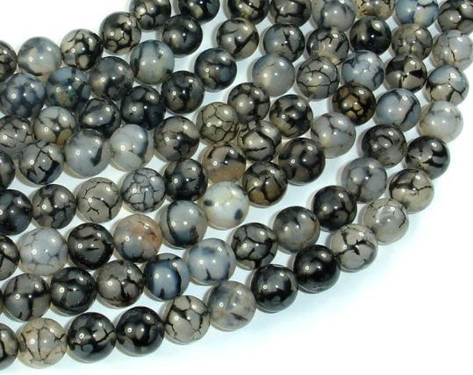 Dragon Vein Agate Beads, Black & White, 8mm(8.4mm) Round Beads, 15 Inch, Full strand, Approx 48 beads, Hole 1mm (122054226)