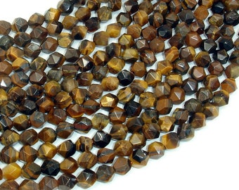 Tiger Eye, Round, 6mm, Star Cut Faceted Round, 15 Inch, Full strand, Approx 63 beads, Hole 1mm(426186001)