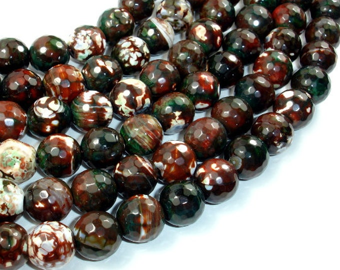 Agate Beads, 12mm Faceted Round, 14.5 Inch, Full strand, Approx 32 beads, Hole 1 mm (122025080)