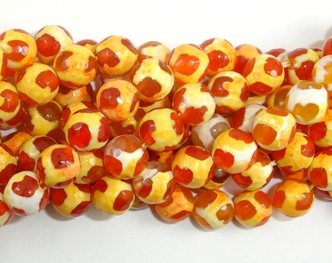 Tibetan Agate Beads, Orange, Faceted Round, 8mm, 14.5 Inch, Full strand, Approx 45 beads, Hole 1 mm (122025163)