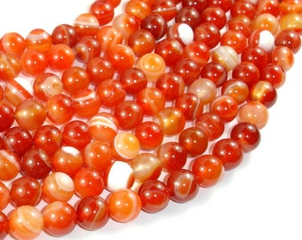 Banded Agate Beads, Red & Orange, 10mm Round Beads, 15 Inch, Full strand, Approx 39 beads, Hole 1mm (132054050)