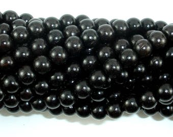 Black Sandalwood Beads, 6mm(6.3mm) Round, 25 Inch, Full strand, Approx 108 Beads, Mala Beads (011732001)