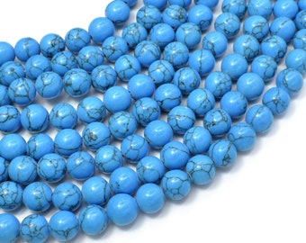 Howlite Turquoise Beads, Blue, 8mm Round Beads, 15.5 Inch, Full strand, Approx 50 beads, Hole 1mm (213054021)