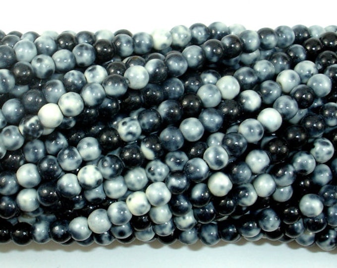 Rain Flower Stone Beads, Black, White, 4mm (4.5mm) Round Beads, 15.5 Inch, Full strand, Approx 98 beads, Hole 0.8mm, A quality (377054046)