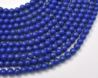 Lapis Blue Turquoise Howlite, 6mm (6.3mm) Round Beads, 15 Inch, Full strand, Approx 61 beads, Hole 1mm (213054027)