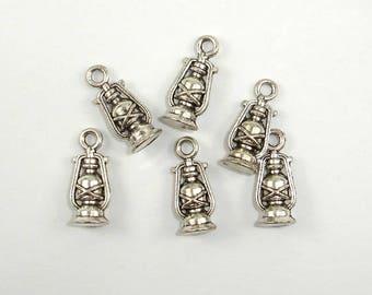 Oil Lamp Charms, Lantern Charms, Zinc Alloy, Antique Silver Tone, 6x16 mm, 20 pcs, Hole 1.8mm (006873087)
