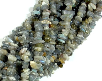 Labradorite Beads, 4mm - 9mm Chips Beads, 34 Inch, Long full strand, Hole 0.8 mm (295005001)