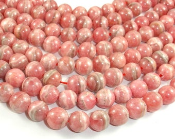 Rhodochrosite Beads, 9mm (9.2mm) Round Beads, 15.5 Inch, Full strand, Approx 44-46 beads, Hole 1mm (385054806)