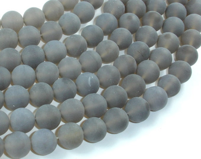 Matte Gray Agate Beads, 10mm Round Beads, 15 Inch, Full strand, Approx 37 beads, Hole 1mm, A quality (241054006)