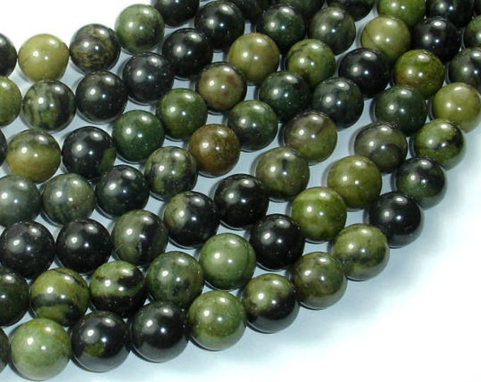 African Green Autumn Jasper Beads, 10mm (10.4mm) Round Beads, 15.5 Inch, Full strand, Approx 39 beads, Hole 1mm, A quality (157054003)