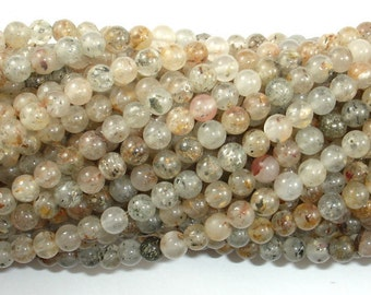Lodolite Quartz, 4mm Round Beads, 15.5 Inch, Full strand, Approx 98 beads, Hole 0.8mm, A quality (178054003)