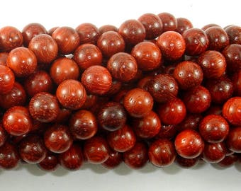Red Sandalwood Beads, 8mm(8.3mm) Round Beads, 34 Inch, Full strand, Approx 108 Beads, Mala Beads (011733002)